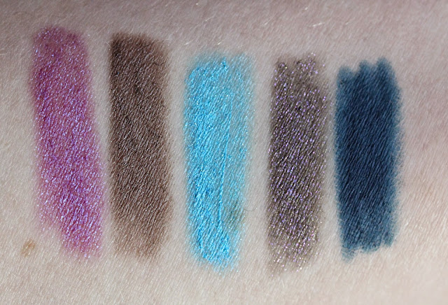 Urban Decay 24/7 Glide-On Eye Pencils L-R Asphyxia, Stray Dog, Electric, Ether and Mainline