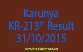 Karunya KR 213 Lottery Result 31-10-2015