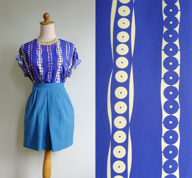 vintage blue dot stripes blouse