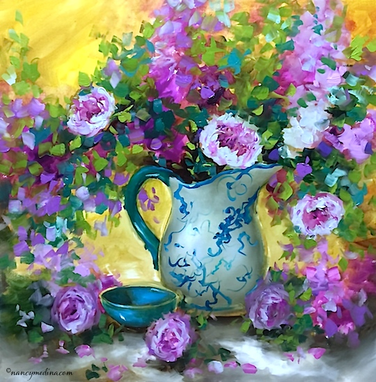 http://www.nancymedina.com/available-paintings/one-more-day-pink-peony-bouquet