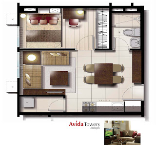 Avida Towers Makati West One Bedroom Unit Plan