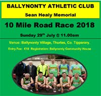 10 mile race in Tipperary... Sun 29th July 2018