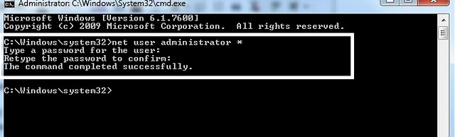 bypass windows 7 password using command prompt