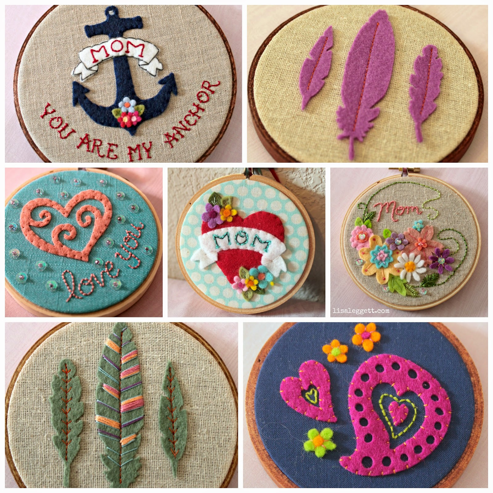 Felt & Embroidered Hoopla's by Lisa Leggett