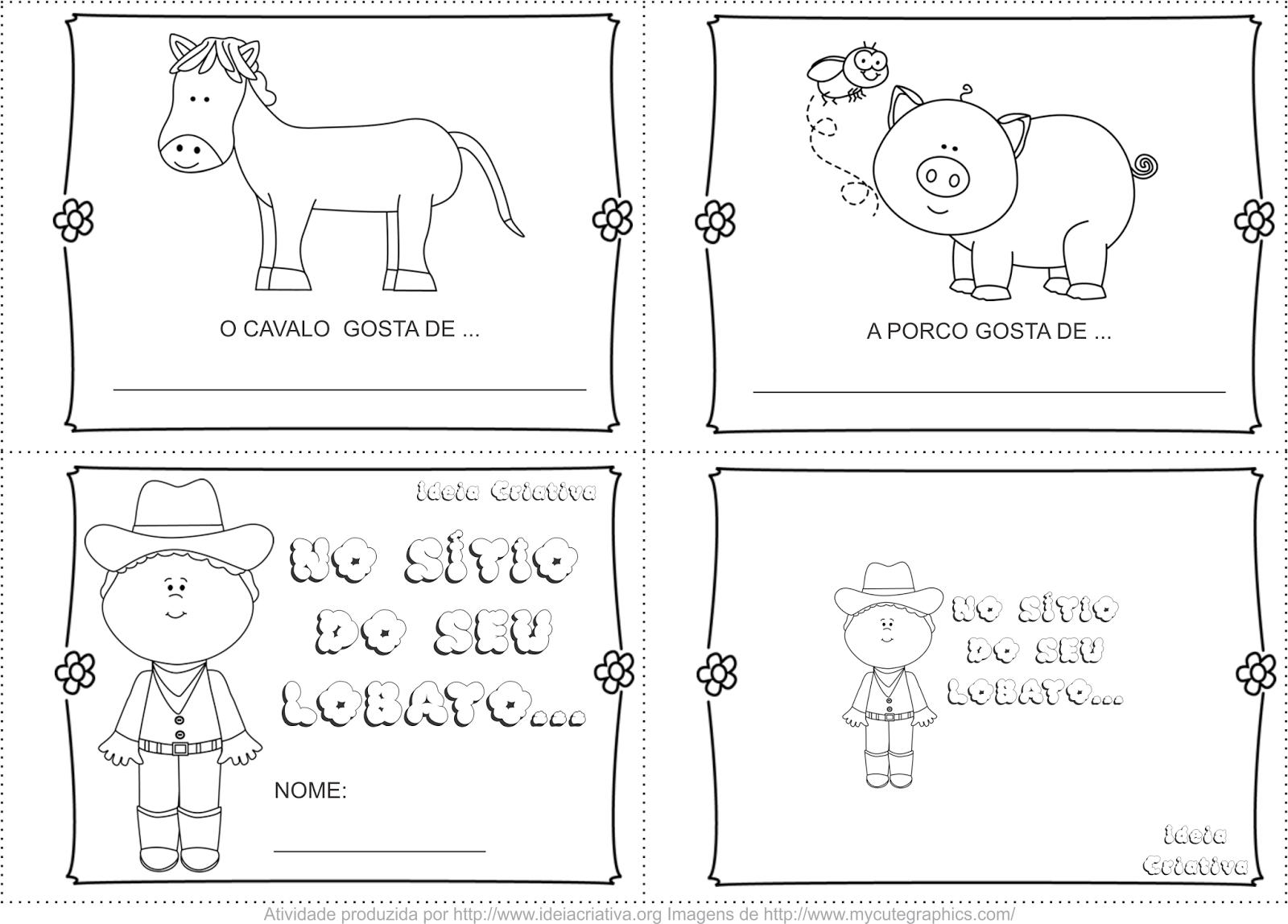 Livrinho Sítio do Seu Lobato Escrita Espontânea Animais da Fazenda