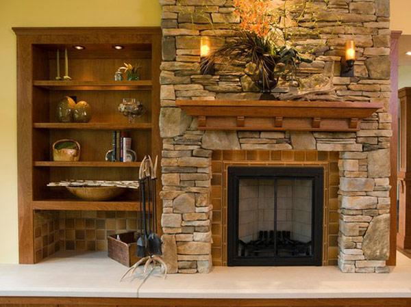 Stone Fireplace with Shelf 600 x 449