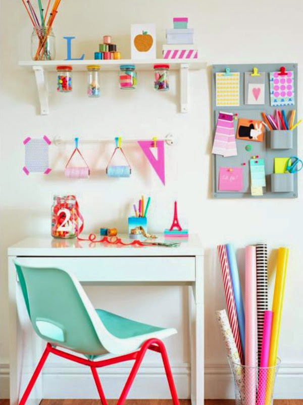 neon and pastel home office