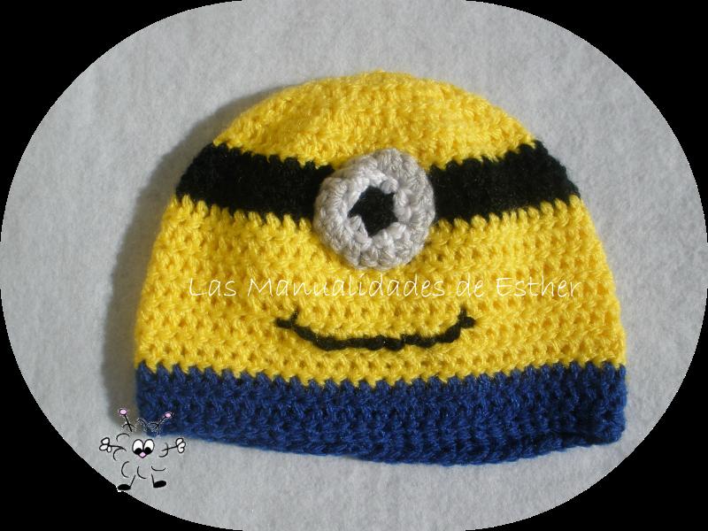 gorro de lana de minion realizado a crochet