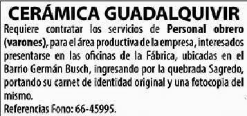 Cerámica Guadalquivir requiere contratar Personal Obrero