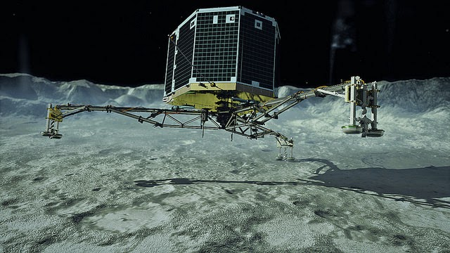 Artist's impression of Rosetta lander Philae touching down on the surface of comet 67P Churyumov-Gerasimenko