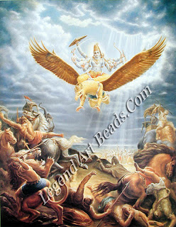 Vishnu riding into battle on Garuda, the celestial bird Pahari painting.