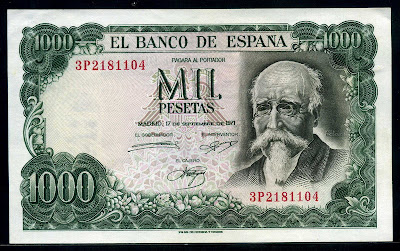 Bank of Spain money currency 1000 Pesetas
