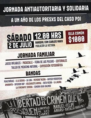 PAC: JORNADA ANTIAUTORITARIA Y SOLIDARIA A UN AÑO DE LOS PRESXS CASO PDI