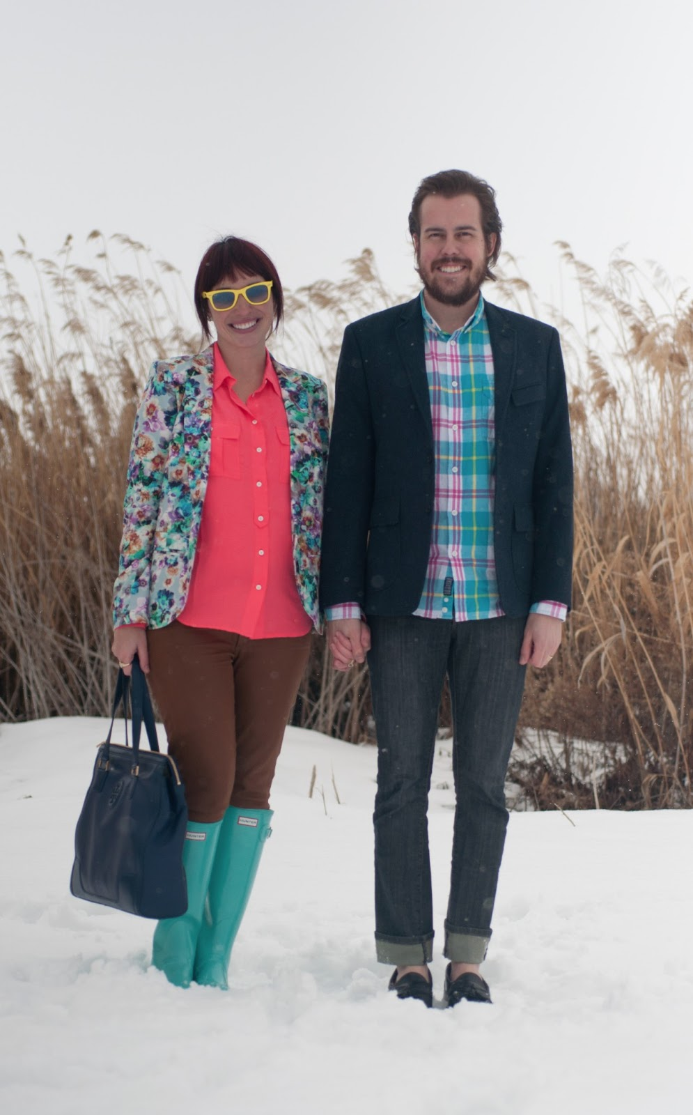fashion blog, fashion blogger, mens fashion, mens style blog, blazer, floral, floral blazer, blue, pink, teal, hot pink, floral print, floral clothing, nordstrom, jcrew, jcrew blouse, silk blouse, blouse, waxed jeans, waxed pants, citizens of humanity, hunter, hunter boots, rain boots, rain boot, teal hunter boot, blue hunter boots, glossy boots, boot, glossy hunter boot, tory burch, leather purse, navy purse, leather purse, navy leather, ray ban, ray bans, wayfer, wayfer ray ban, earrings, bow earrings, gold earrings, womens style, fashion, style, fashion blogger, womens fashion blogger, mens fashion blogger, personal style, outfit post, style post, banana republic, mens blazer, banana republic blazer, penfield, css, california cheap skate, allen edmonds, classic mens shoes, old man shoe, black dress shoe, plaid, beard