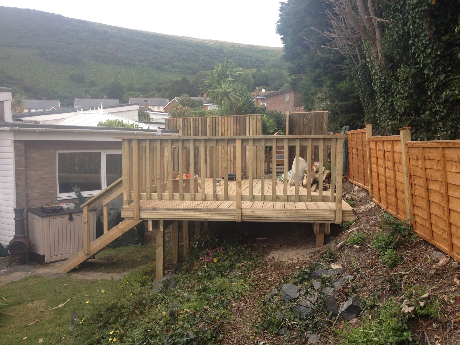 Garden carpentry timber decking design and build our for Timber decking garden designs