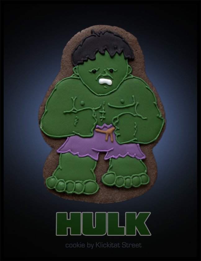 decorated sugar cookie of Marvel Avengers movie character Hulk