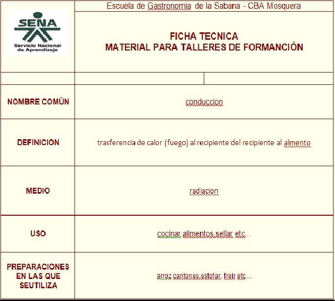 Gastronomia fichas tecnicas de transferencia de calor for Tecnicas gastronomicas pdf