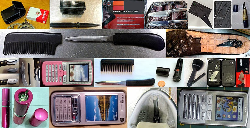 Left to Right / Top to Bottom: Cigarette Pack Stun Gun (MCO), Brush Dagger(OGG), Knives Concealed in Air Filter (IAH), Credit Card Knife (ABQ), Lipstick Knife (SAT), Comb Knife (DTW), Knife in Shoe (IAD), Belt Buckle Knife (EWR), Stun Gun Cell Phone (JAN), Comb Knife (CHS), Lip Stick Stun Gun (LAS), Key Knife (IAD), Razor Concealed in Cell Phone (TPA), Credit Card Knife (BWI), Lipstick Stun Gun (STL), Stun Gun Cell Phone (LAX), Knife in Shoe (SAN), Cell Phone Stun Gun (DEN)