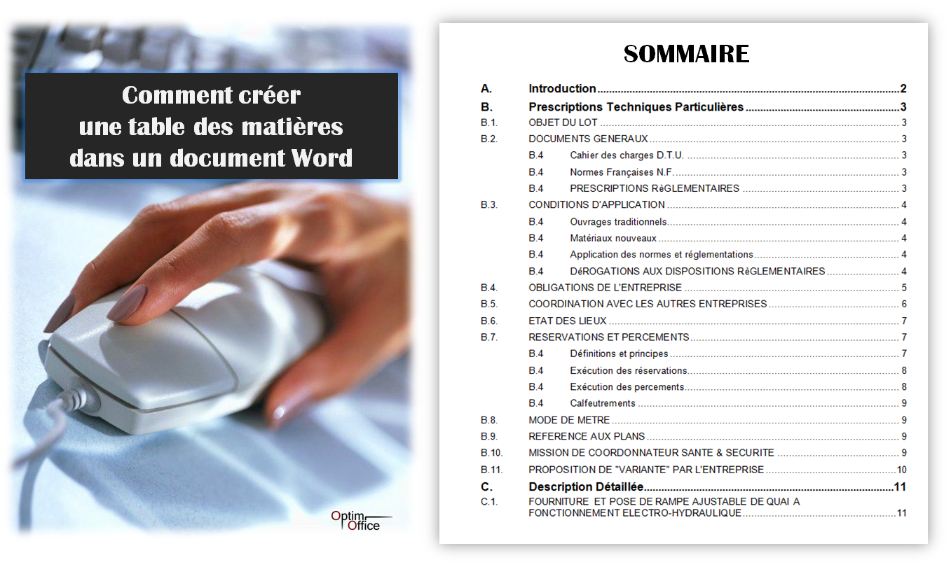 Comment g n rer une table des mati res dans un document word optim office - Comment mettre une table ...