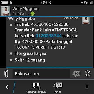 Konfirmasi pembayaran jersey Willy Nggebu di enkos sport toko online jersey bola terpercaya lokasi di tanah abang