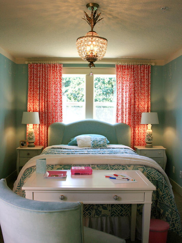 Inspirational girls bedrooms bed vibrant modern pink for Coral and turquoise bedroom ideas