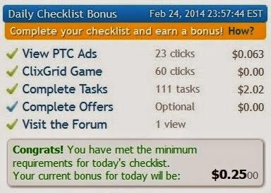 Check List Bonus on Clixsense