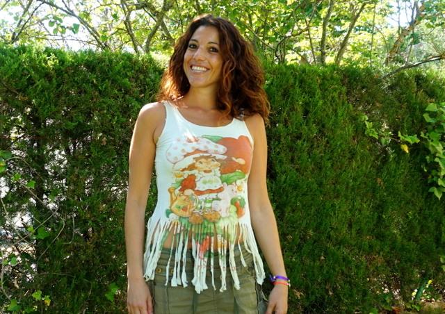 Camiseta tarta de fresa flecos mujer