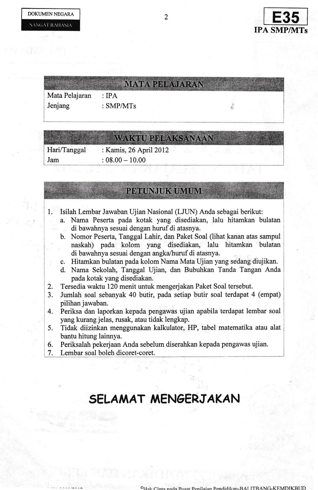 Soal Dan Pembahasan Un Ipa Smp Paket E35 Tahun 2012 Hendri Kuncahyo
