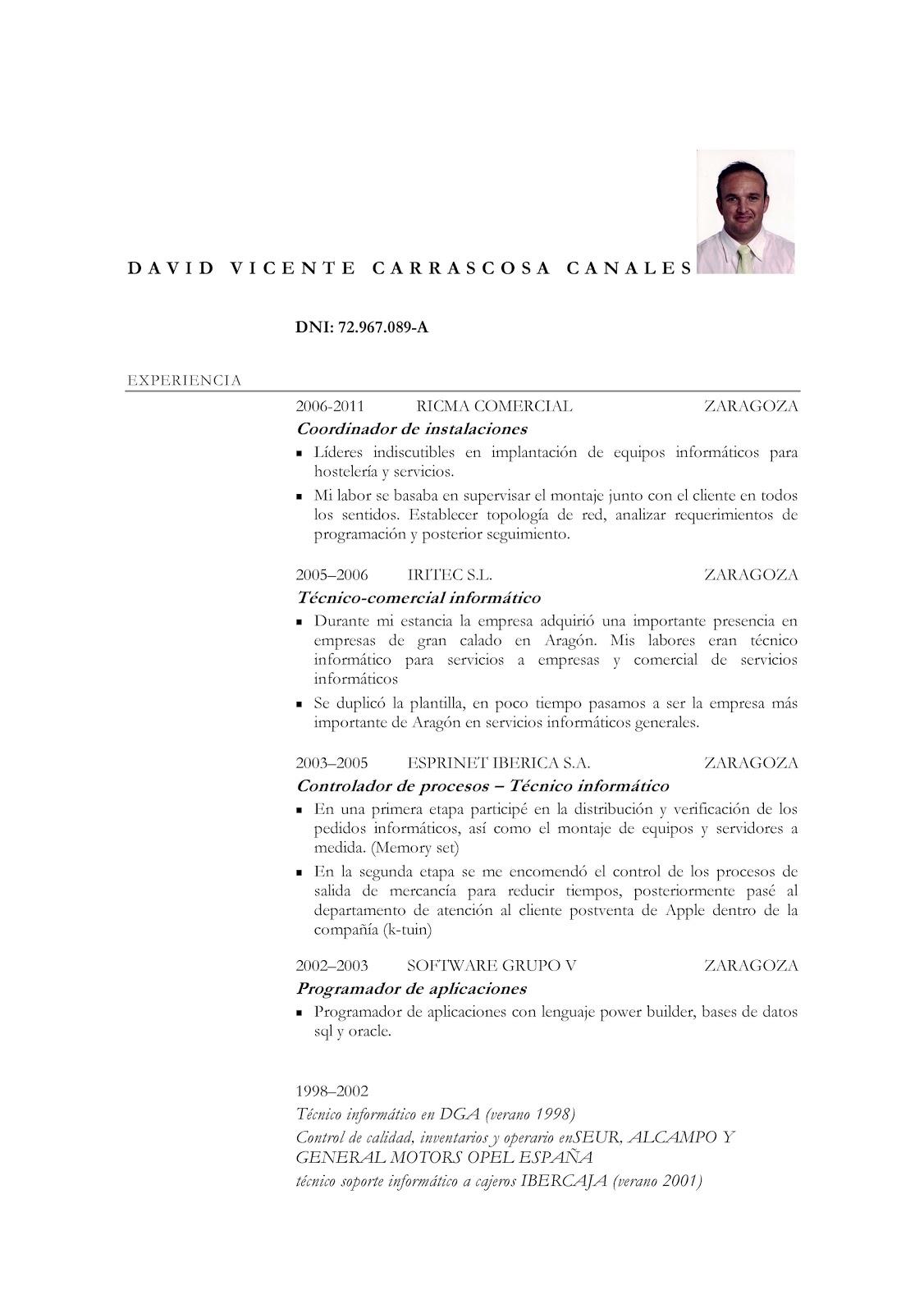 David Vicente Carrascosa Canales: CURRICULUM VITAE