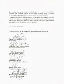 El Consejo Directivo INEM solicita la devolución de los terrenos y predios ocupados.