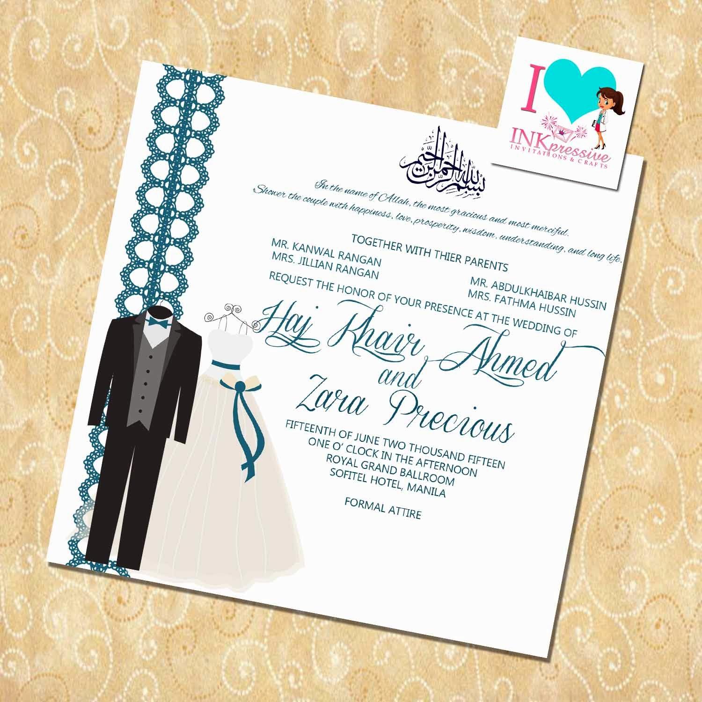 Muslim Wedding Invitation Wording Uk Yaseen for