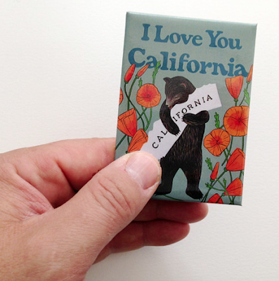 refrigerator magnet, with a bear and poppies, saying I Love You, California