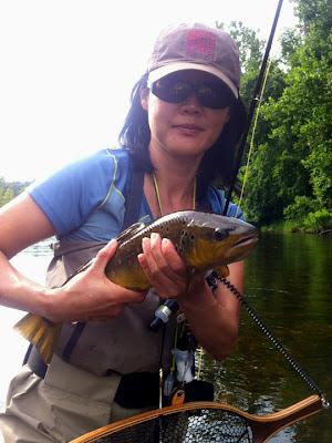 Flygirl Hyun Kounne with brown trout, Farmington River