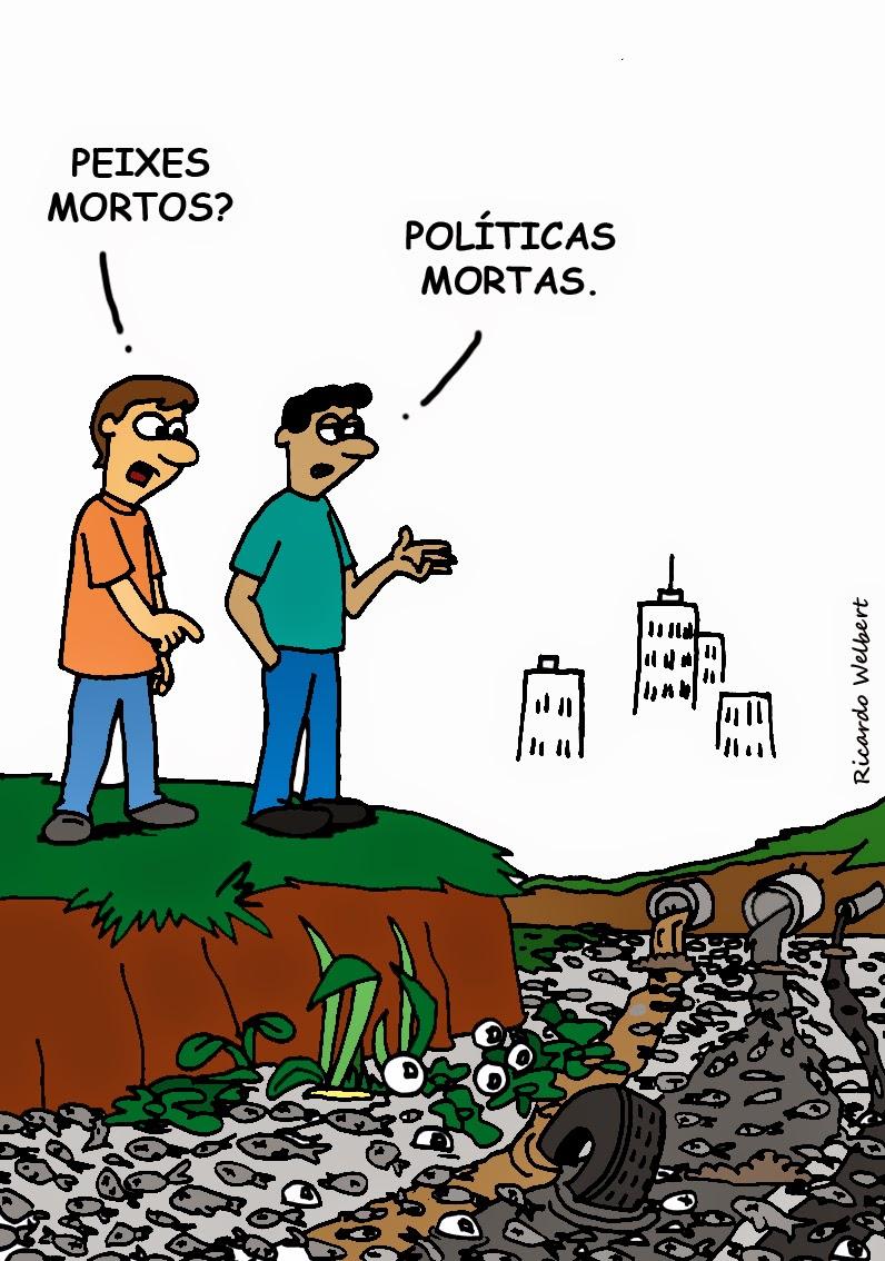 """Charge para o jornal """"Agora"""" de 2 de abril de 2004, sobre a situação do rio Itapecerica, em Divinópolis"""