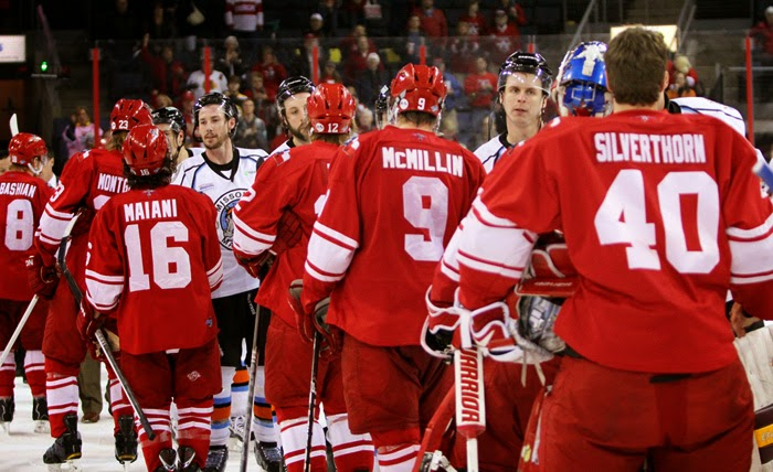 Missouri and Allen shake hands after the Americans advance to their first CHL Finals in 2013.