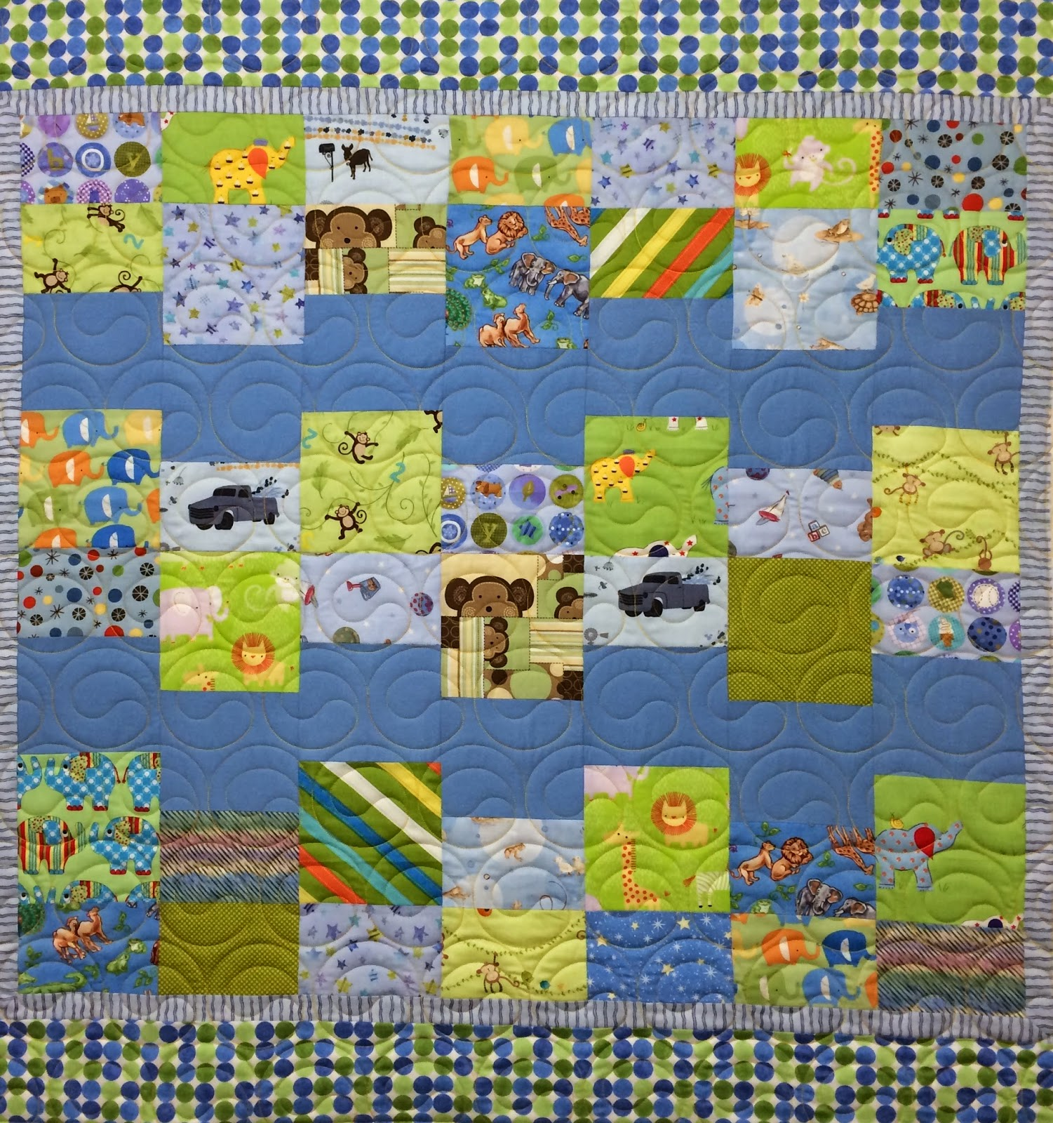 Peggy Kreb Blue & Green Baby Quilt