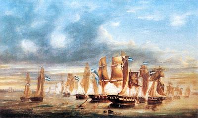 'Combate del Juncal. Fase final' Óleo sobre tela (1865) del artista José Félix Murature, tomado de www.histarmar.com.ar