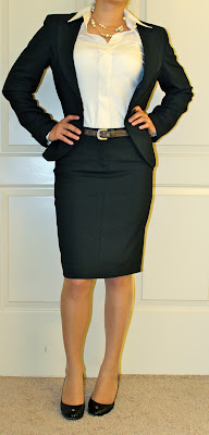 Petite Blogger in interview suit
