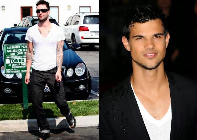 Adam Levine y Taylor Lautner camiseta con escote