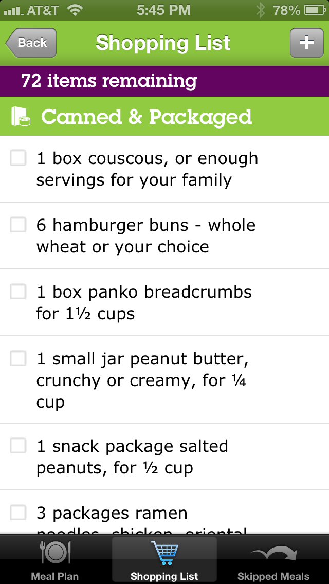 emeals app meal planning