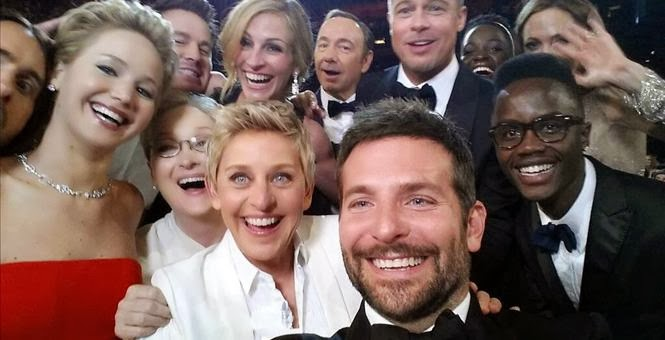Facebook timeline cover of Oscar selfie.