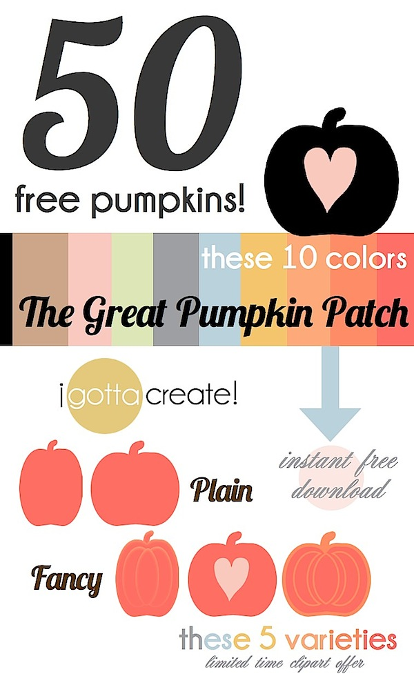 Sweet! 50 free pumpkin clipart files in 10 colors and 5 varieties | limited time offer at I Gotta Create!