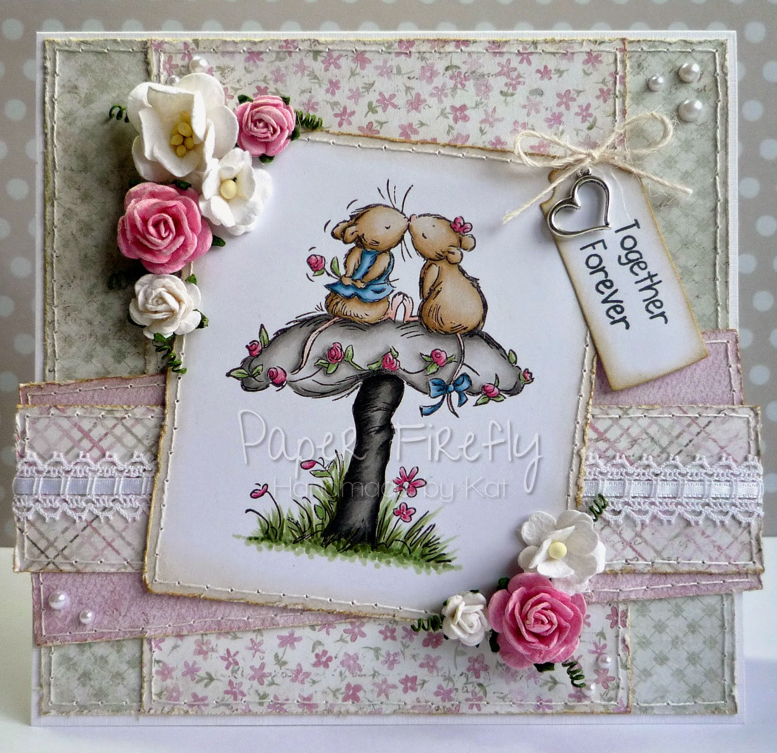 Romantic card featuring Hugs and Kisses (Moonbeam meadow) by Crafter's Companion