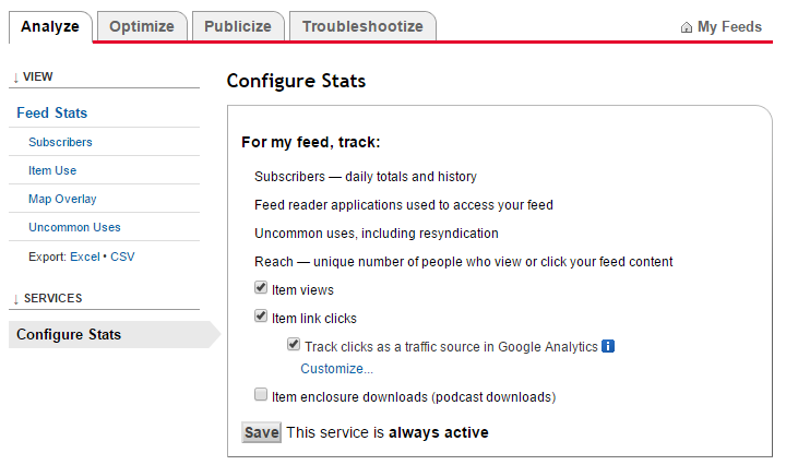 feedburner  Services > Configure Stats