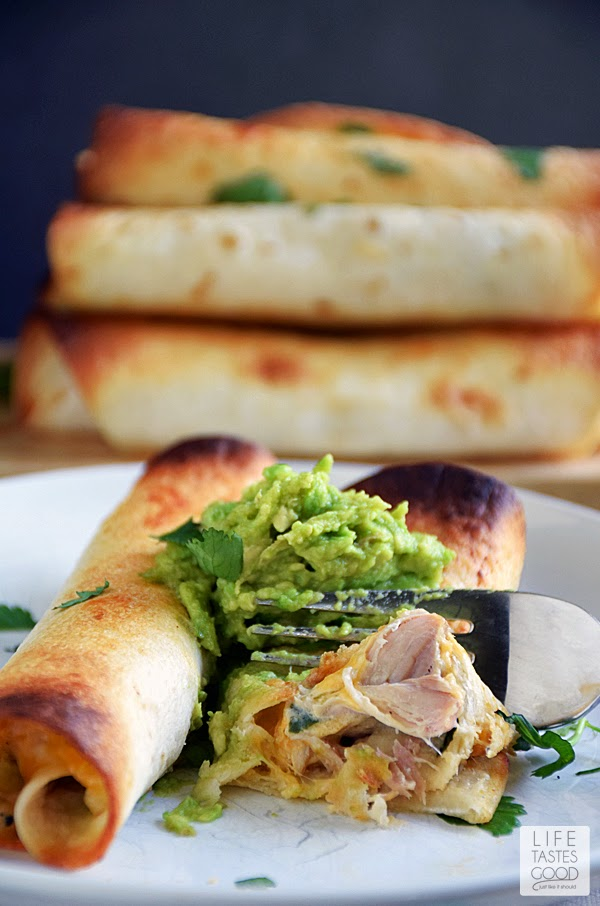 Slow Cooker Chicken Taquitos | by Life Tastes Good is very easy to make any night of the week. The creamy, cheesy filling with just the right amount of spiciness all wrapped up in a crunchy tortilla makes this one of my very favorite slow cooker meals.