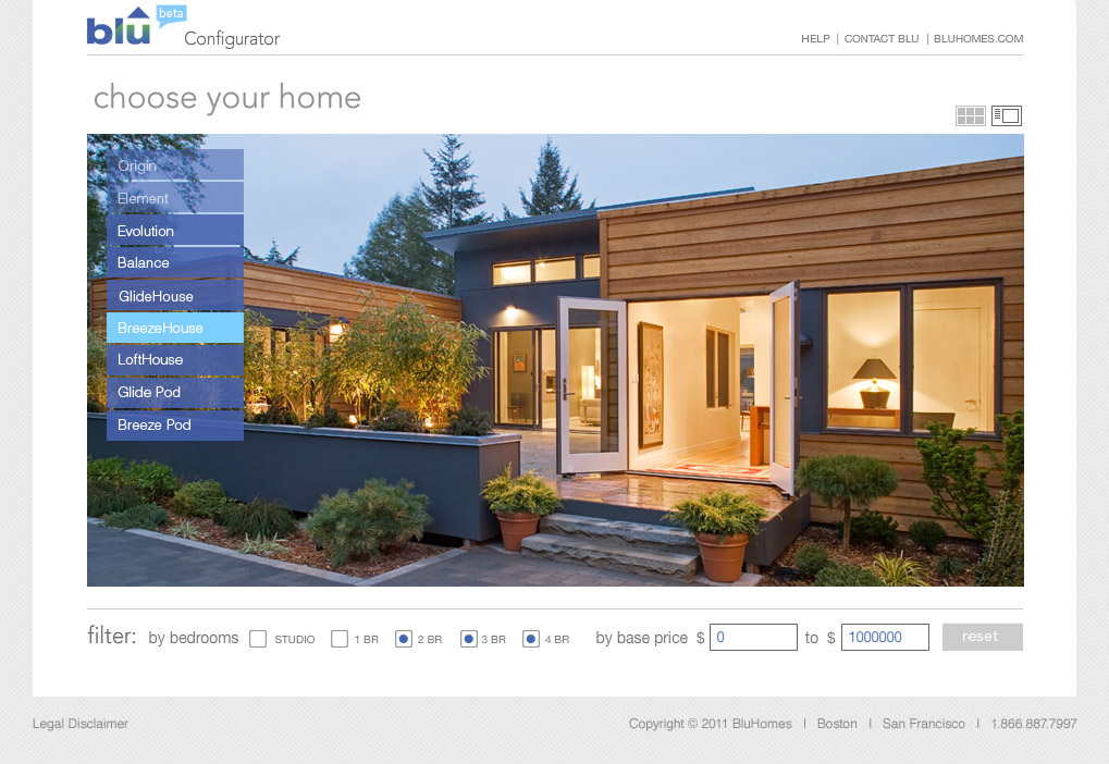 Blu homes configurator home line selection interface for House configurator