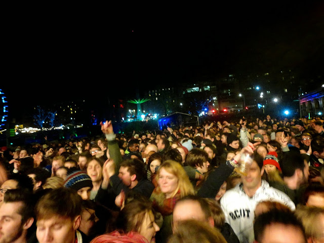 Crowd at the Waverley at the Edinburgh Hogmanay Street Party 2014