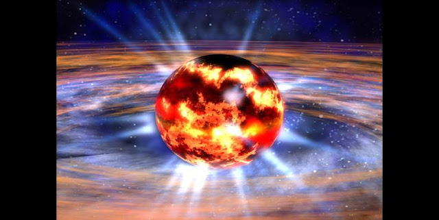 Neutron stars are extremely compact and contain an enormous amount of mass. Because of that, they are so dense they exert a very strong gravitational pull. (NASA illustration).