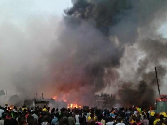 Graphic photos: Fire at Mile 12 'Diesel Black Market'  01