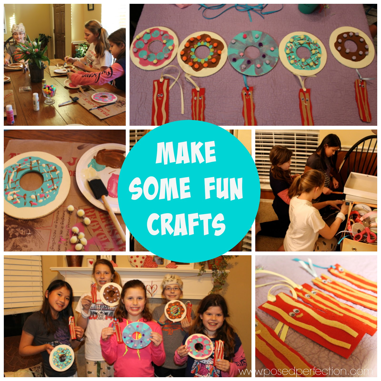 "Fun crafts for a tween ""un-slumber"" party. Donut memo boards and bacon bookmarks."
